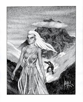 Illustration of the White Sybil moving onward into the snow as our protagonist attempts to follow her.